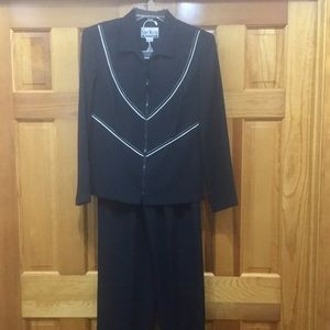 Black suit with white piping & stitching